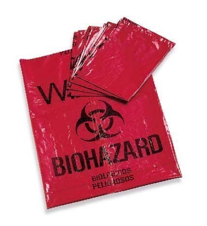"Large 23""x23"" Red Biohazard Bags"