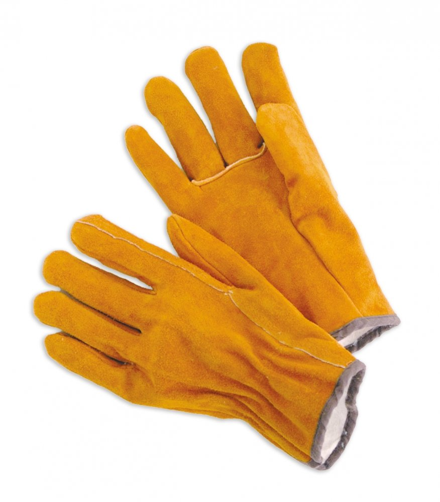Lined Cow Split Leather Drivers, Russet  With Fleece LIned