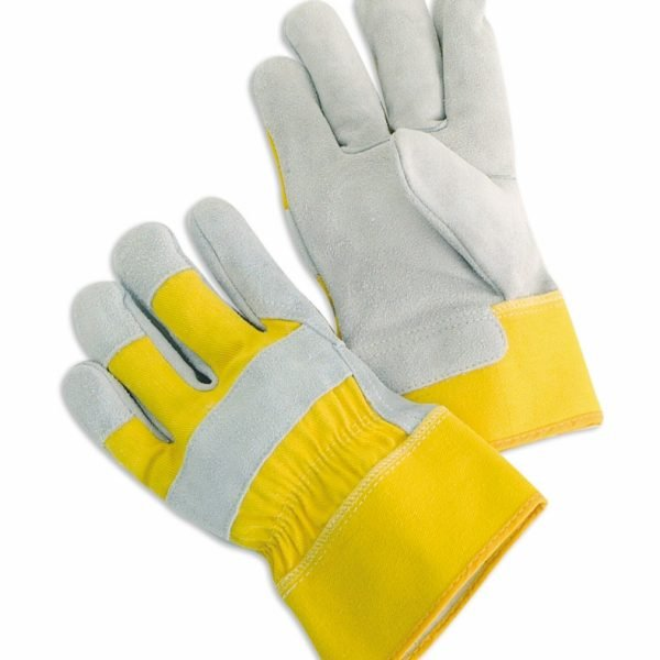 "Select Shoulder Split Leather Palms With 2.5"" Rubberized Safety Cuff, Yellow Fabric"