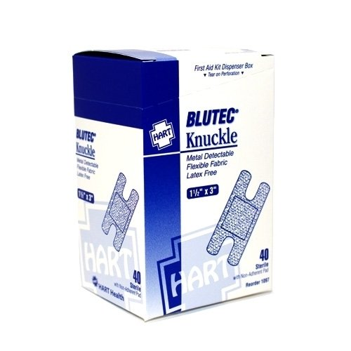 Blue Metal Detectable Adhesive Bandage - Knuckle